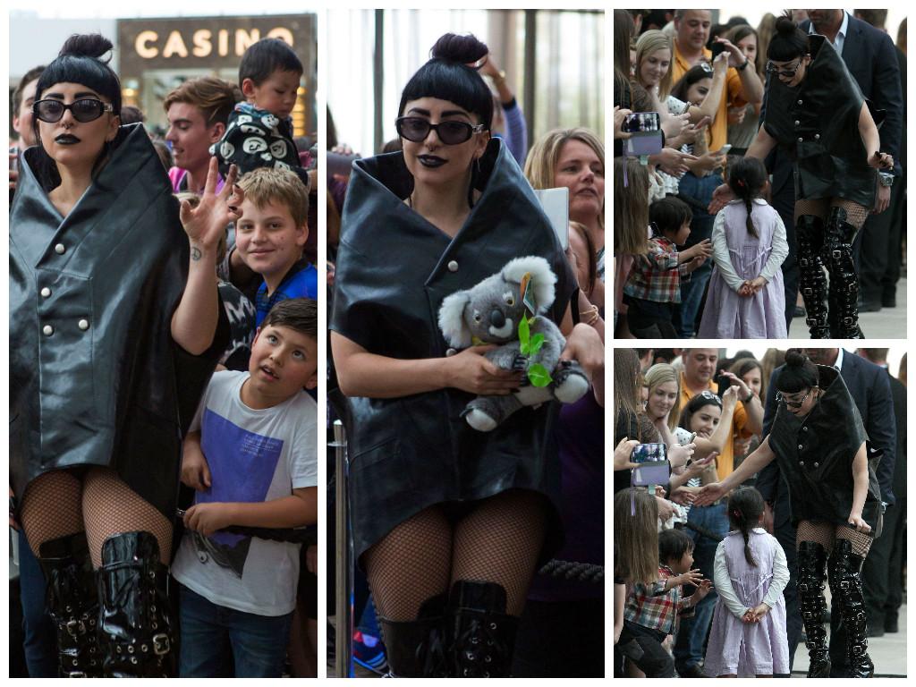 Леди Гага пугает детей в аэропорту Перта в Австралии
